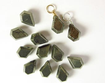 Faceted Pyrite Jewelry - Metallic Pyrite Charms - Wire Wrapped Pyrite Pendant - Silver Charms - Grey Pyrite Gold Charms - Rustic Jewelry