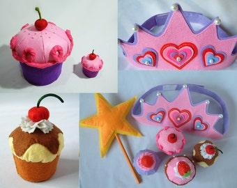 Felt cake pattern-Big cupcake and birthday cupcake set--PDF via Email-F25, F25A