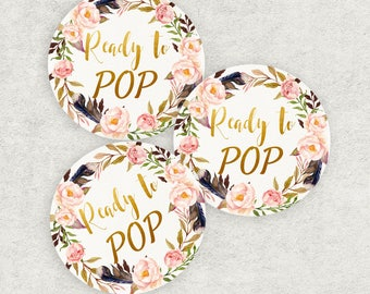 Boho Ready to POP labels, Baby shower labels, Round Stickers, Buffet labels, Baby shower decor, Party decor,  Baby shower food, Bo-Ho