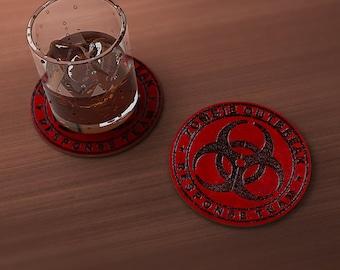 Zombie Outbreak Response Team Geek Drink Coaster
