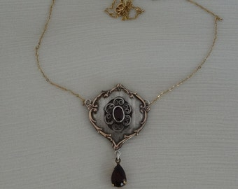 stunning  silver and 9ct art nouveau pendant on chain