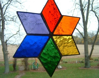 Stained Glass Rainbow Star Sun Catcher