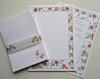 Writing Paper and Envelopes Set, Rose Hips Design