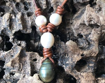 Large fireball pearl leather statement necklace, green fireball, pearl leather jewelry
