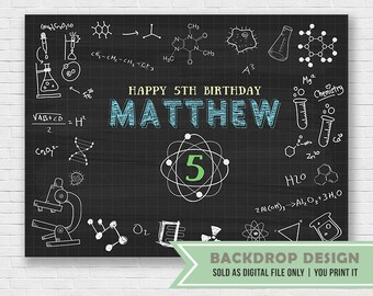 Mad Science Birthday Backdrop // DIGITAL FILE Only // Laboratory Experiment Party