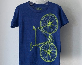 toddler FIXIE 4T TSHIRT Bicycle tri-blend bike tee lime green on indigo blue 4T