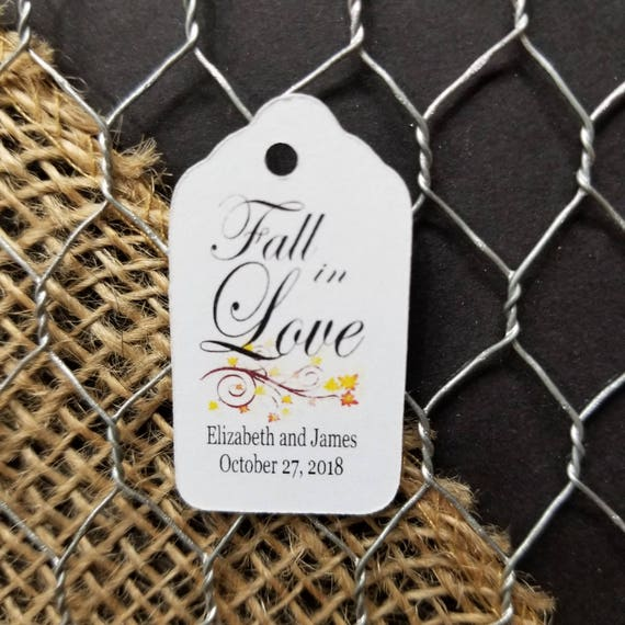 Fall in Love personalized with your names Extra SMALL 7/8 x 1 5/8 Wedding Favor Tags