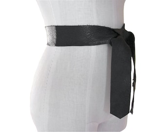 "Mano Bello Basic Tie Belt - Leather Tie Belt - Black -  Brown - 2""  Belt - Raw Edge - Seamless - Coat Belt - Basic Collection - XS S M L XL"