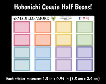308 | Hobonichi Cousin Rainbow Half Boxes {16 Fancy Matte or Glossy Planner Stickers}