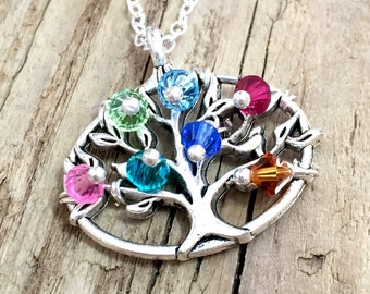 Family Tree Birthstone Necklace Gift For Mom, Grandma Necklace, Gift for Mother, Gift for Grandma, Birthstone Family Tree Necklace