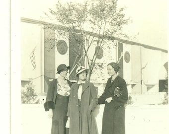 1933 Women at the Worlds Fair Well Dressed High Fashion 30s Vintage Photograph Black White Sepia Photo