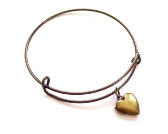 Antiqued Brass Locket Bracelet, Locket Bangle Bracelet, Antiqued Brass Locket Charm, Heart Mini Locket, Layering Bangle, Stackable Bangle