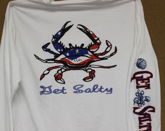 Get Salty...  Red,White and Blue Crab print.   Long Sleeve