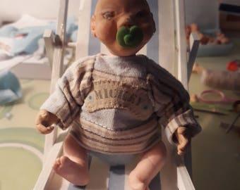 Ooak polymer clay handemede baby boy 5'