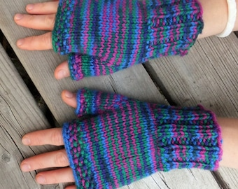 Handknitted fingerless mittens, fingerless gloves, wool arm warmers