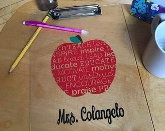 Teacher Gift, Personalized Teacher Gift, Personalized Apple Teacher Clipboard, Teacher Appreciation Gift, Teacher End Of The Year Gift