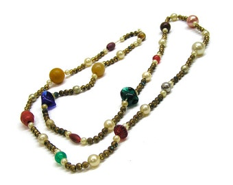 Vintage 1930s Bead Necklace Faux Pearl Glass Celluloid and Brass Beads