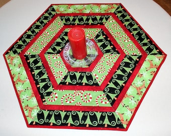 Christmas Quilted Table Runner, Hexagon Table Topper Quilt,  Red Green White Reindeer, Trees, Candy Canes, Quiltsy Handmade Patchwork
