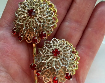 Vintage Red Rhinestone Dangles Hair Bobby Pins Bridesmaid Wedding Prom Art Deco Gold Doodaba