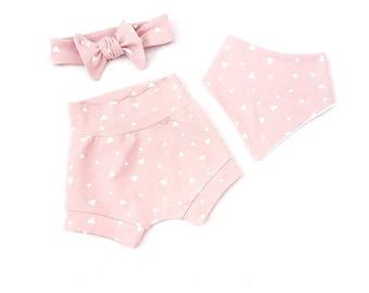 Triangle shorts - baby girl shorts - summer baby - organic cotton - organic baby clothes - pink shorts - kids shorts - grey shorts