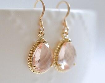 Bridesmaid Jewelry Peach Champagne Teardrop Wedding Earrings in Gold