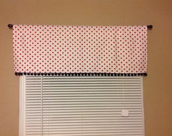 Valance/Curtain 42W x 15L in Red/White, White/Red Polka Dot W/ Black Pom Pom Trim