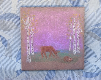 Decorative Tile - Deer with Fawn - for Mantle, Shelf, Any-Room Decor! - Spring Feel, Whimsical
