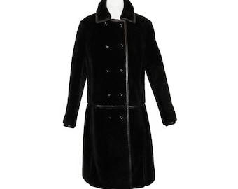 Mod Faux Fur Coat, Leather Details, I Magnin, Vintage 1960s