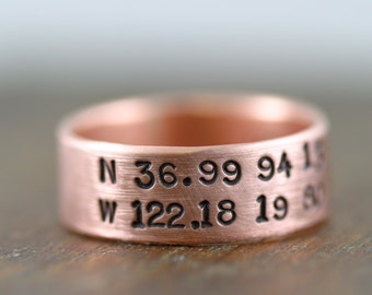 Personalized Copper Ring (E0230) // gifts for him // gifts for her// wedding ring // anniversary gifts