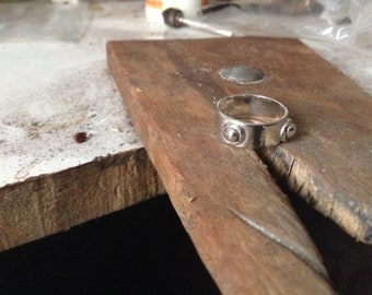 Flache Band Sterling Silberring