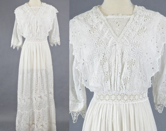 Edwardian White Embroidered Cotton Eyelet Tea Dress, Antique 1910s Dress, Edwardian Wedding Dress, Bohemian White Eyelet Dress