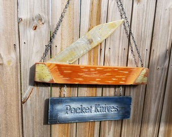 2 Sided Country Store Style Pocket Knife Sign