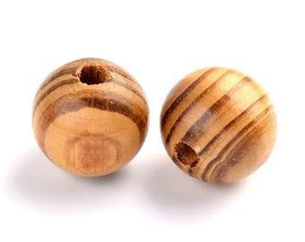 16mm Brown natural pine wood beads round 5/10/15/20 units PB020 lots