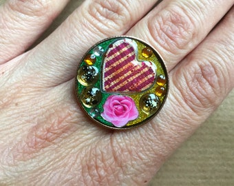 Heart and rose ring