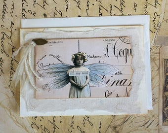 NEW Handmade Vintage Style Card with Encouragement Theme
