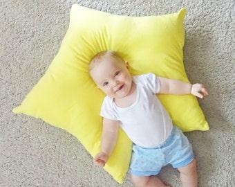 Star floor pillow, yellow star pillow, kids floor pillow, kids star floor pillow, star floor cushion, kids star cushion, reading nook pillow