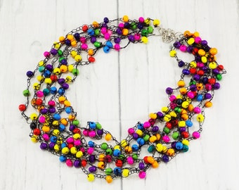 Eco friendly wooden necklace wooden bead necklace bib necklace boho necklace colorful necklace summer necklace mosaic jewelry eco necklace