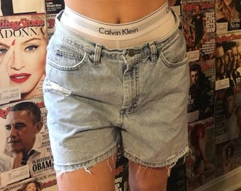 Butt rip distressed jean shorts light wash grunge