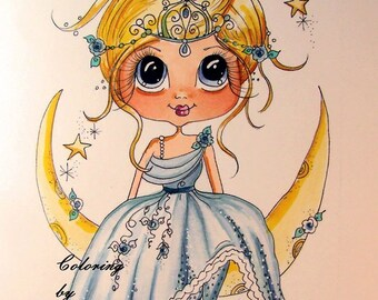 INSTANT DOWNLOAD Digital Digi Stamps Big Eye Big Head Dolls Bestie New Bestie Scann008 Moon Fairy Princess My Besties By Sherri Baldy