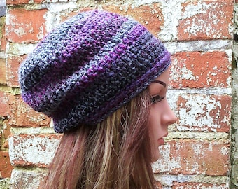 Colorful crochet beanie , Women's  beanie hat . Slouch beanie . Crochet hat .