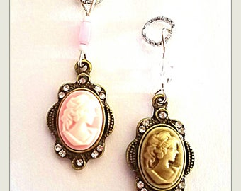 Hearing Aid Charms:  Vintage Style Cameos with Czech Glass Accent Beads!