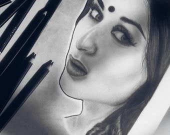 Charcoal sketch of kareena Kapoor.