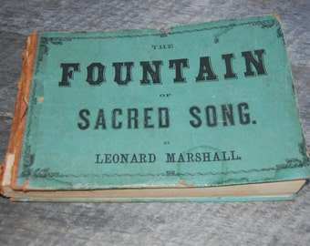 Vintage Hymnal - Old Song Book - Old Hymnal - Church Music - Vintage Music Book - Sacred Song Book - Choir Book - Tattered Book - Old Book
