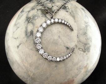 Moon Jewelry, Moon Necklace, Moon Pendant, Crescent Moon Necklace, Crescent Moon Jewelry,  Crystal Moon, Moon, Crescent Moon Pendant