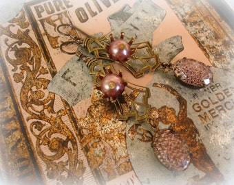 dusk limited edition vintage assemblage earrings vintage brass vintage smoky lilac pearls + vintage smoky lilac reflector jewels
