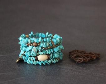 Boho Cuff Bracelet ethnic memory MULTISTRAND wrap, turquoise stone, bronze, Horn, wood, seeds, charms