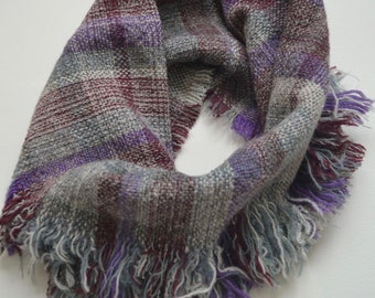 Hand-Woven Wool and Silk Cowl