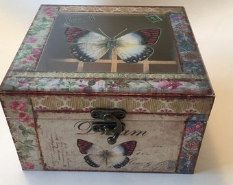 Glass/butterfly/canvas/essential oil box