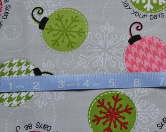 Christmas Fabric, Red, Green and Pink Ornaments on Gray Fabric, Quilting Fabric By The Yard, Cotton Yardage, Fat Quarter, Half, By The Yard