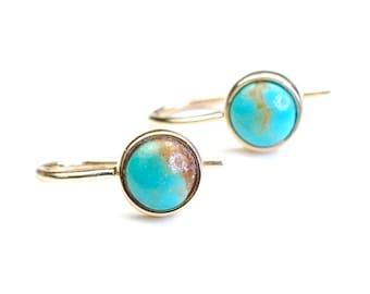 Turquoise Earrings, Drop Earrings, Turquoise Gold Drop Earrings, Turquoise Pendant Earrings, Turquoise Drops, December Birthstone, Nixin